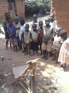 Orphans with Jiggers lining up for treament
